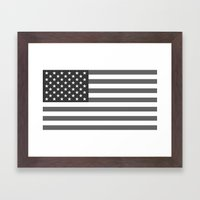 American flag - Gray scale version Framed Art Print