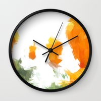 BLOSSOMS - ORANGE GREEN Wall Clock
