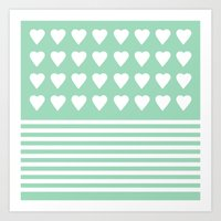 Heart Stripes Mint Art Print