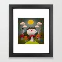 Jolly Coffeesburg (Soy, venti, vanilla latte, sugar-free) Framed Art Print