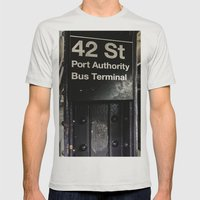 42nd Street Subway Stop Mens Fitted Tee Silver SMALL