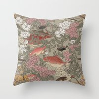 Fishes & Flowers - Seamless pattern Throw Pillow