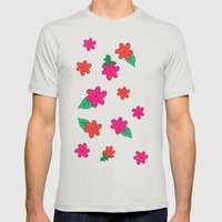 little pink flowers Mens Fitted Tee Silver SMALL