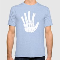 Talk To The Hand Mens Fitted Tee Tri-Blue SMALL