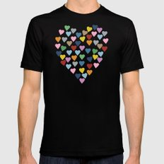 Hearts Heart Mens Fitted Tee Black SMALL