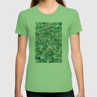 Abstract Green & Blue Womens Fitted Tee Grass SMALL