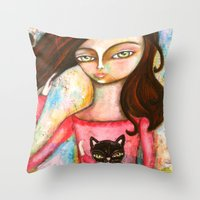The Black Cat Princess Throw Pillow