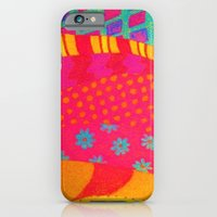 iPhone & iPod Case featuring THE FASHIONISTA - Bright Vibrant Abstract Waves Mixed Media Whimsical Fashion Fabric Pattern by EbiEmporium