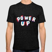 Power Up Mens Fitted Tee Tri-Black SMALL