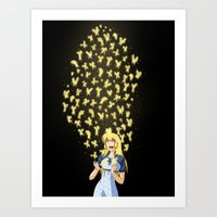 Golden Butterflies Art Print