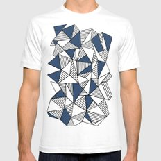 Abstraction Lines with Navy Blocks Mens Fitted Tee SMALL White