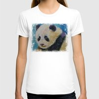 Panda Cub Womens Fitted Tee White SMALL