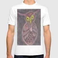 Stylized Owl Mens Fitted Tee White SMALL