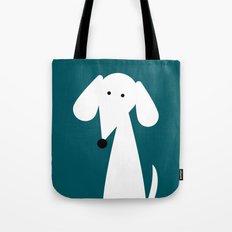 White Dachshund - Turquoise  Tote Bag