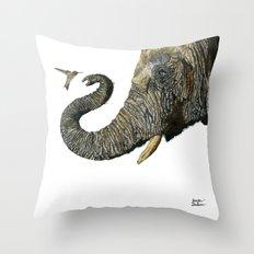 Elephant Cyril And Hummingbird Ayre 2 Throw Pillow