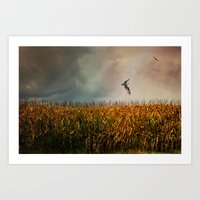 Soaring on the edge of a storm Art Print