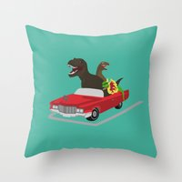 Jurassic Parking Only Throw Pillow