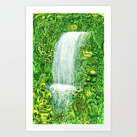 Waterfall In Tropical Fo… Art Print