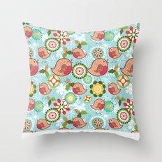 Xmas Robins Throw Pillow