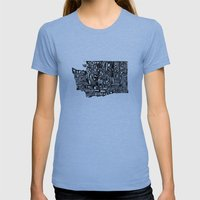 Typographic Washington Womens Fitted Tee Athletic Blue SMALL