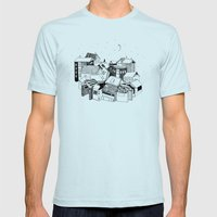 Book Town Mens Fitted Tee Light Blue SMALL