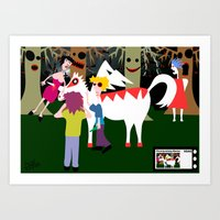 The curious incident of a lady and the unicorn of super white man  Art Print