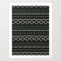 Mudcloth In Bone On Blac… Art Print