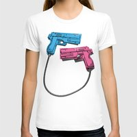 dual-wielding Womens Fitted Tee White SMALL