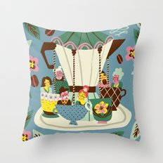 The Coffee Carousel Throw Pillow