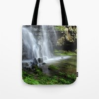 Waterfall At Swallet Fal… Tote Bag