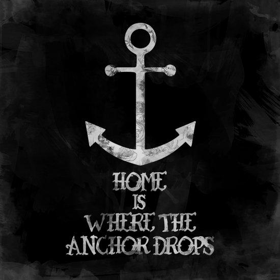 Where The Anchor Drops (Black) Canvas Print