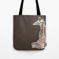 Giraffe in Brown Tote Bag