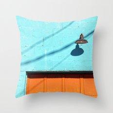 Electric Aqua building orange door Throw Pillow