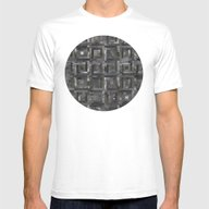 Black Geometric Pattern  Mens Fitted Tee White SMALL