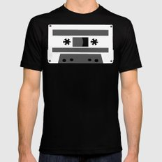 Black and White Tapes 45 SMALL Mens Fitted Tee Black