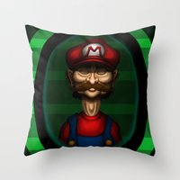 Sad Mario Throw Pillow