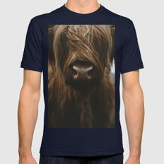 Scottish Highland Cattle Mens Fitted Tee Navy SMALL