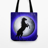 Wild Horse On Blue Moon  Tote Bag