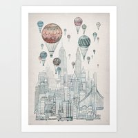 nyc Art Prints featuring Voyages Over New York by David Fleck