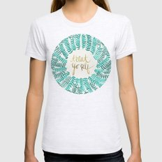 Treat Yo Self – Gold & Turquoise Womens Fitted Tee Ash Grey SMALL