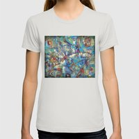 Dragonflies in blue Womens Fitted Tee Silver SMALL
