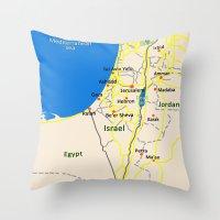 Israel Map Design Throw Pillow