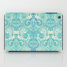 Botanical Geometry - nature pattern in blue, mint green & cream iPad Case
