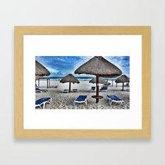 Blue beach Framed Art Print