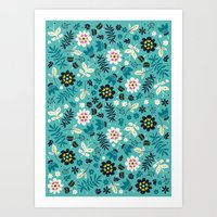 Fresh Blossoms (Greens) Art Print