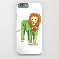 iPhone & iPod Case featuring Lion in suit by Lina Littlefield