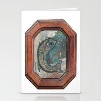 Fish On Wood Stationery Cards
