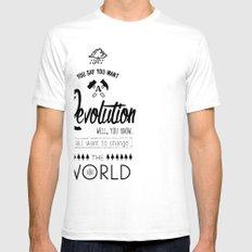 Lennon's Revolution White Mens Fitted Tee SMALL
