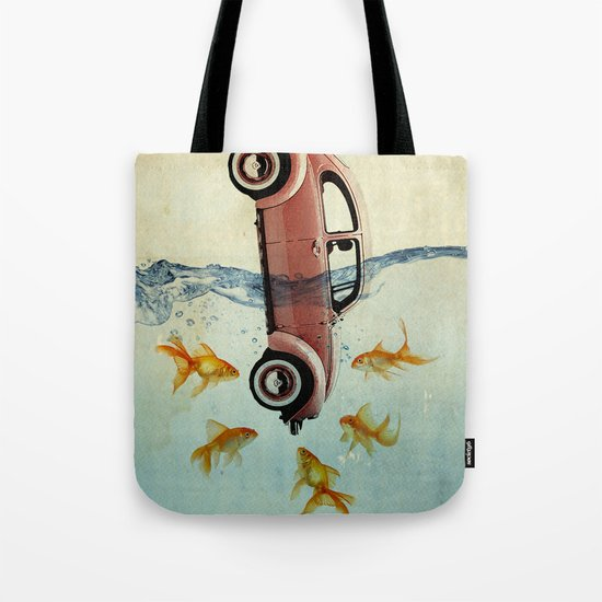 VW beetle and goldfish Tote Bag