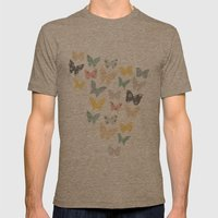 Butterflies Pattern Mens Fitted Tee Tri-Coffee SMALL